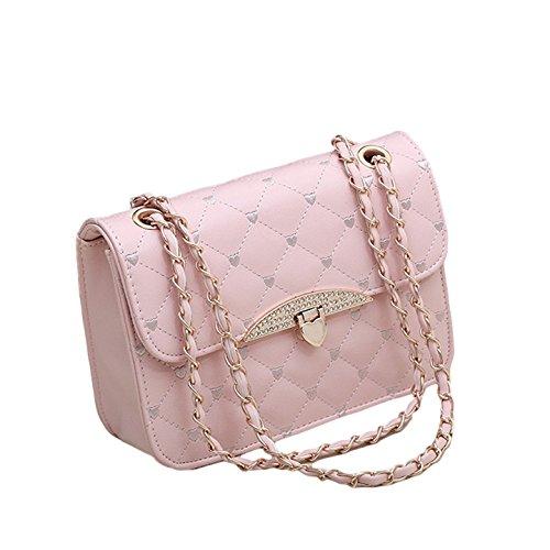 Gesteppte Handtasche Kunstleder Vintage Stil Abend Tasche Herzen Goldkette (Rosa) (Abend-handtasche Rosa)