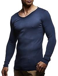 LEIF NELSON Herren Longsleeve Basic Sweatshirt langarm Shirt Pullover  V-Ausschnitt 1b18cf5a3b