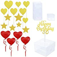 YG_Oline 1 Set Cake Money Box Set Money Pulling Gift Box With Glitter Heart And Star Cake Toppers, Plastic Heart Cake Toppers, Happy Birthday Topper For Birthday Party Decoration