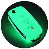 Schlüssel Hülle VA für 3 Tasten Auto Schlüssel Silikon Cover von Finest-Folia (Nachtleuchtend)