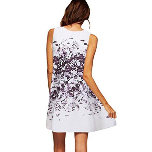 VEMOW Vintage Boho Frauen Sommerkleider Sleeveless Strand Gedruckt Kurzes Minikleid Eine Linie Abendkleid Täglich beiläufige Partei Weste T-Shirt Kleid Plus Size Rock(X1Weiß 17, EU-50/CN-3XL)