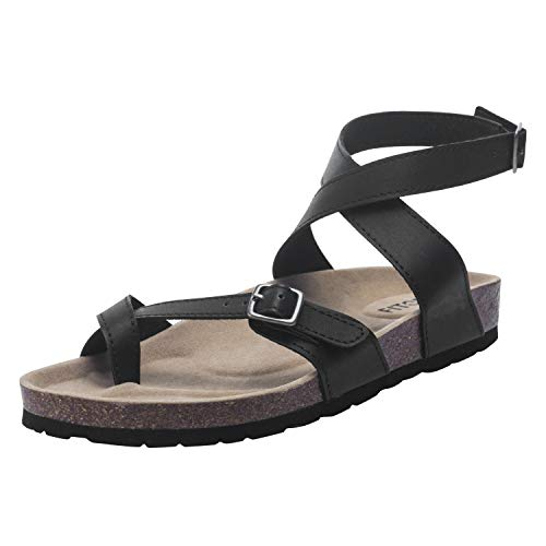 FITORY Damen Sandalen Flach Fußbett Pantoletten Elegant Zehentrenner Bequeme Kork Flip Flops Sommerschuhe Gr.36.5-43 -