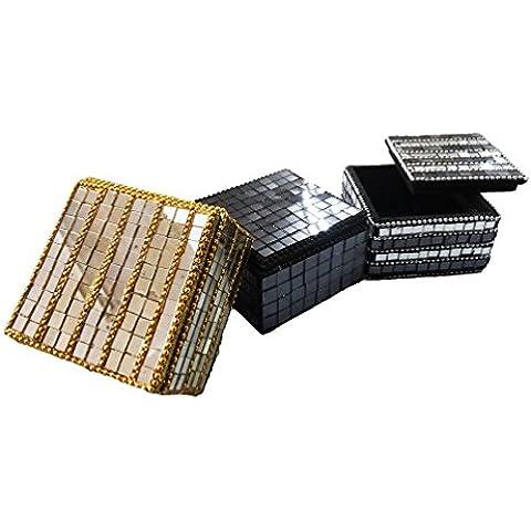 contenitore di monili decorativi Set di 3 pezzi fatti a mano di forma quadrata nero domestico dorato arredi articolo da regalo custodia tradizionale