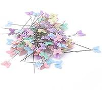 Cose Stecknadeln mit flachem Kopf in Form von bunten Blumen 200 Stück
