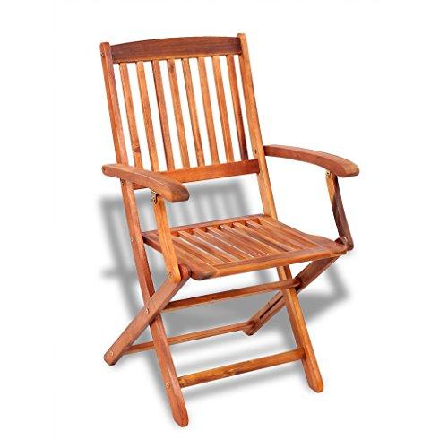 vidaXL 2 pcs Outdoor Garden Folding Dining Chairs Seat Acacia Wood Patio Terrace Yard