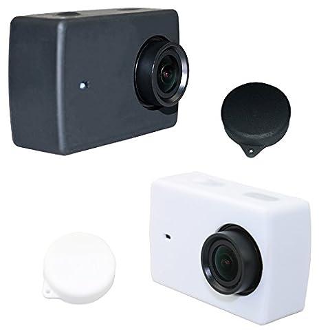 Deyard Y-04 Coque de protection en caoutchouc Silicone + Objectif Cache pour Xiaomi 4K/4K+/Yi Lite Action Camera - 2 Pièces (noir et blanc)