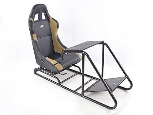 Rennsimulationssitz Gamer für PC und Spielekonsolen Kunstleder schwarz/beige