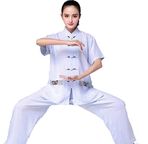 FHKL Tai Chi Kleidung Damen Sommer Kurzarm Baumwolle Und Leinen Trainingskleidung Exquisite Stickerei Mit Taschen Atmungsaktiv Und Weich,Blue-M (Bombe Anzug Kostüm)