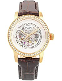 Rotary Ladies Rose Gold Plated Skeleton Strap Watch