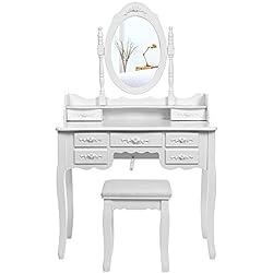 SONGMICS Grande Coiffeuse Table de Maquillage avec 1 Miroir pivotant à 360°, 7 tiroirs et 1 Tabouret Blanche RDT10W