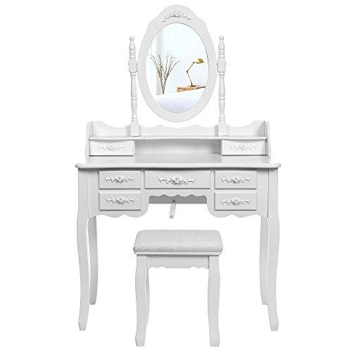 Songmics weiß 7 schubladen Schminktisch mit spiegel und hocker, inkl. 2 Stück Unterteiler, Kippsicherung, 145 x 90 x 40 cm RDT10W