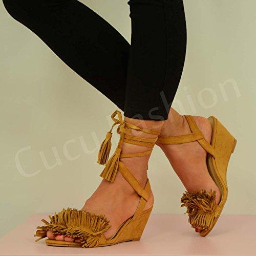 Cucu Fashion - Strap alla caviglia donna Marrone (Khaki/Tan)