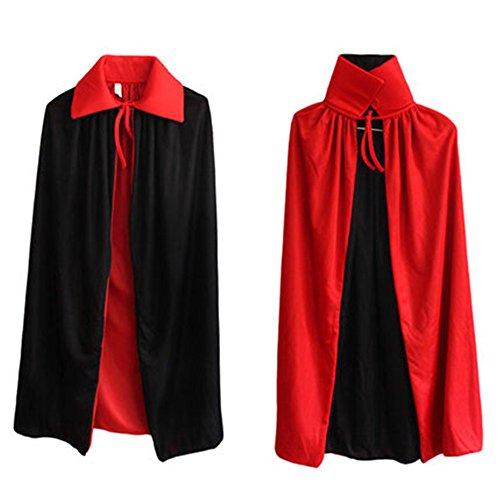 HIDOUYAL Umhang Cape Cosplay Kostüm Tanz Halloween Halskette Schwarz und Rot für Erwachsene (Teufel Halloween Kostüm)