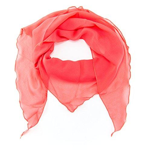 ManuMar Dreiecks-Schal für Damen | feines Hals-Tuch mit Unifarben als perfektes Sommer-Accessoire | Dreiecks-Tuch in coral - Das ideale Geschenk für Frauen