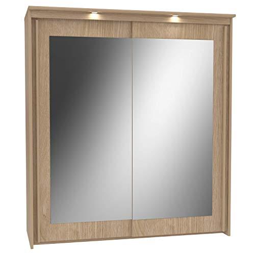 Havnyt bronte specchio armadio largo 180cm 2ante scorrevoli con finitura in quercia