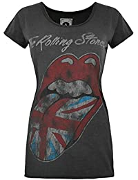 Amplified Rolling Stones Womens UK Tongue Charcoal Scoop Neck T-Shirt-Medium