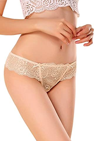 NINGMI Women Funny Thong See-Through Lace G-string Panties T-back Lingerie Underwear