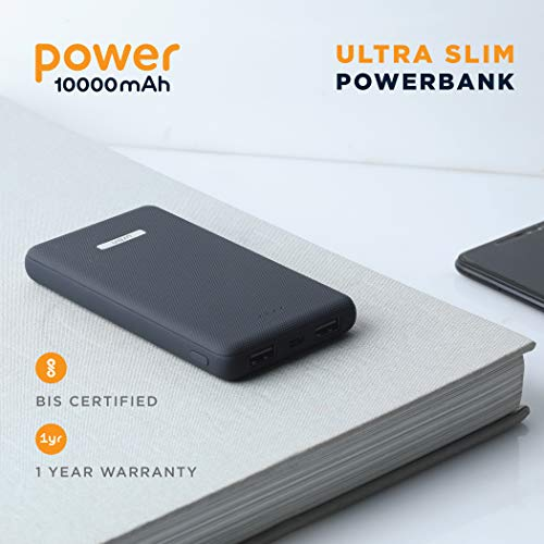 URBN 10000mAH Li-Polymer Ultra Slim Power Bank with 2.1 Amp Fast Charge and Ultra Compact Slim Body with BIS Certification (Blue) Image 2