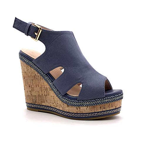 Angkorly - Damen Schuhe Sandalen Mule - Classic - Vintage/Retro - Plateauschuhe - mit Stroh - Kork Keilabsatz high Heel 12 cm - Blau MK573 T 41