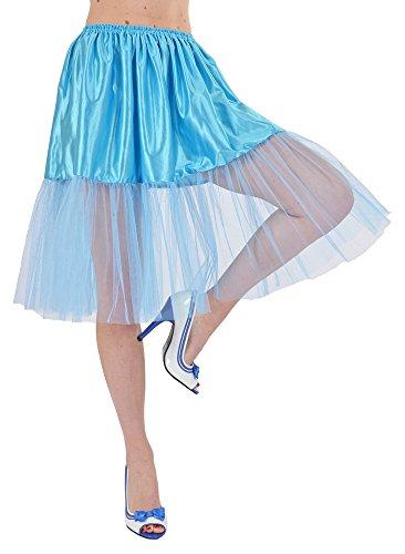 Das Kostümland - Petticoat Tüll Unterrock für Damen zum Fifties Rock´n Roll Kostüm - Blau
