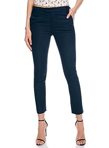 oodji Collection Women's Straight Linen Pants, Blue, UK 14 / EU 44 / XL