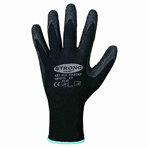 12 Paar Strong Hand Arbeitshandschuhe mit Latexbeschichtung, Schwarz, 10