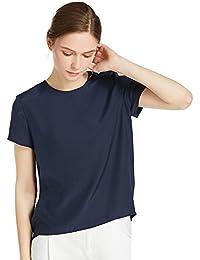 755199867e13e4 LILYSILK Women's Charmeuse Silk T Shirt Tunic Blouse Top Ladies Short Sleeve  22 Momme Pure Silk
