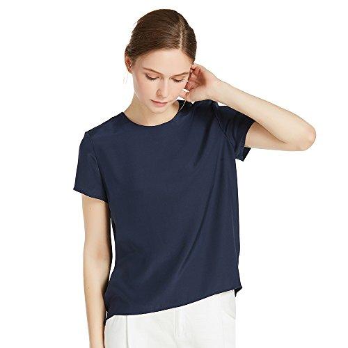 LILYSILK Seide Damen Hemdbluse Kurzarm Bluse Hemd Tunika 22 Momme Blau XXL (Shirt Kleid Seide)