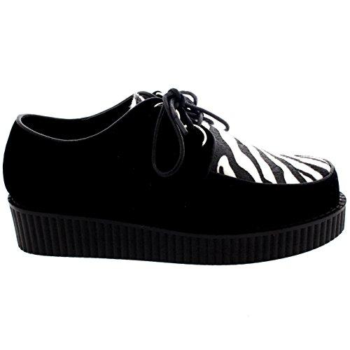 Femmes Chaussures De Creeper Gothique Punk Rétro Plate-Forme Chaussures Noir Cebra Suède