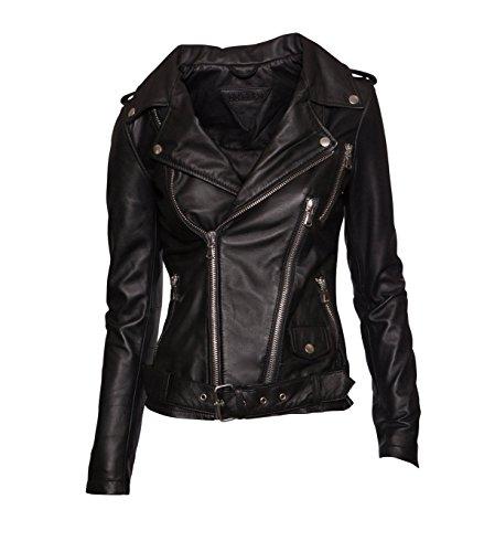 BE EDGY Damen Lederjacke Gipsy Bikerjacke Jacke Leder - Leder - schwarz black XS