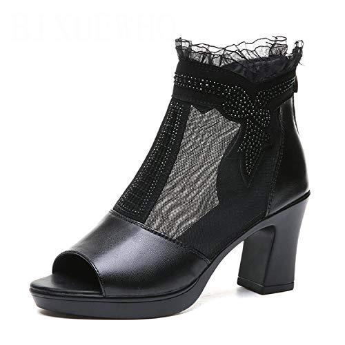 2019 New Elegant Summer Female Sandals Women's Square Super High Heels Solid Zipper Shoes Woman Lace Mature Daily Dress Shoes Black 7