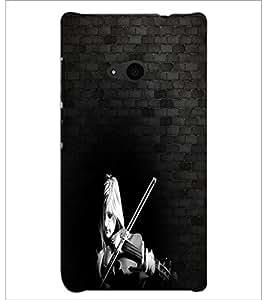 PrintDhaba Violin Girl D-3967 Back Case Cover for MICROSOFT LUMIA 535 (Multi-Coloured)