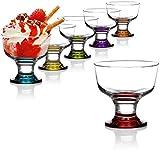 com-four® 6X Tazza da Dessert, Coppa Gelato in Vetro colorato per Gelato, Dessert e Frutta, Bicchieri da Dessert Lavabili in lavastoviglie (06 Pezzi Destina Colorati)