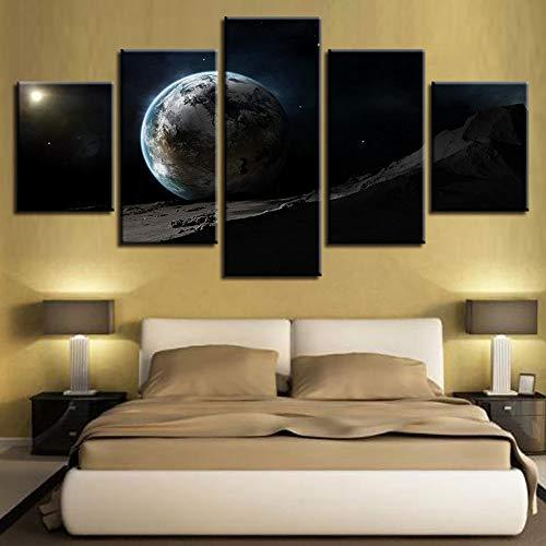(Rjjdd Modulare Abstrakte Poster Rahmen Bilder 5 Stücke Druck Erde Planet Leinwand Malerei Dekoration Wohnzimmer Wandkunst-30Cmx40,with Frame)
