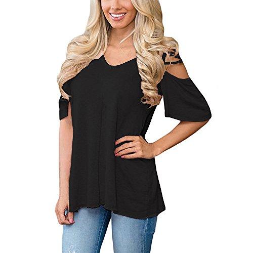 Oberteil Frühling, Lylafairy Damen Sommer Shirt V Ausschnitt Kurzarm Bluse Oberteil Tops (XL, Schwarz)
