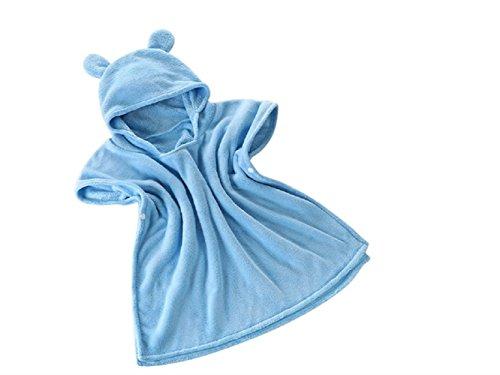 PanpA Weich Baby Cartoon Bär Kapuzen Bademantel Kapuzen Handtuch Cute Animal Badetuch Umhang für Kinder (Blau)