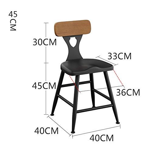 MEIDUO Durable Selles Chaises de bar en fer Accueil chaise de dossier Tabouret de bar 45cm / 55cm / 65cm / 75cm pour intérieur extérieur (Couleur : B, taille : 45)