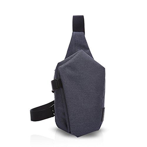 FANDARE Sling Bag Rucksack Umhängetasche Brusttasche Messenger Bag Schultertasche Reisen Wandern Daypack Crossbody Bag Chest Pack Outdoor Sports Reisetasche Polyester Grau Schwarz