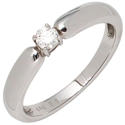 Jobo 585 oro blanco señorías-anillo 1 diamond-brillant 0, 16ct.