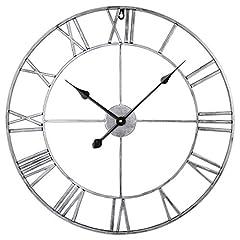 Idea Regalo - ZUJI Orologio da Parete Vintage, 60CM Orologio da Parete Grande Silenzioso Gigante Orologio da Muro Ferro Battuto Decorativo per Cucina Ufficio Camera Soggiorno (Argento)