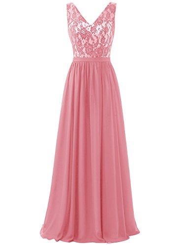 Dresstells Damen Elegant V-Ausschnitt Lace Feierlich Party Abendkleider  Koralle
