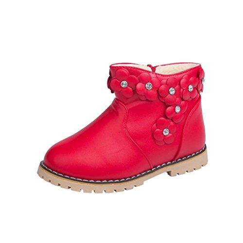 Kinder Schuhe Jungen Mädchen Martin Sneaker Stiefel mingfa Baby Kind Warm Winter Schnee Booties für 1–6Jahren Age:4-4.5T rot