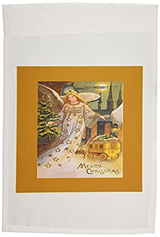 3dRose fl_170858_1 Christmas Angel with a Small Tree, Horse and Carriage in The Snow Garden Flag, 12 by 18-Inch
