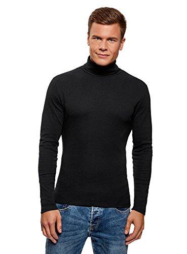 oodji Ultra Hombre Suéter de Cuello Alto Básico de Algodón, Negro