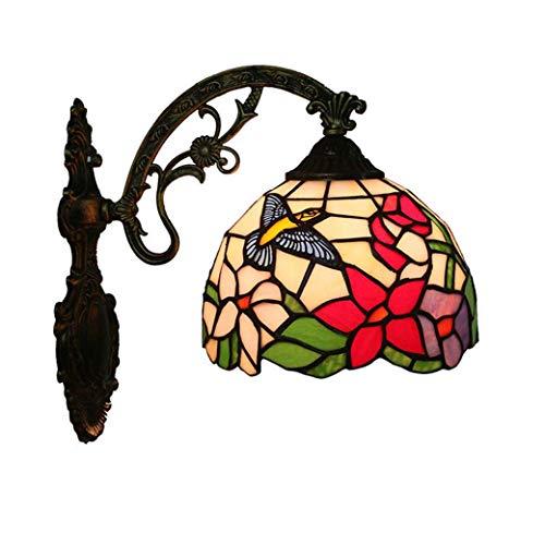 Tiffany-Stil-Wandleuchte, Kolibri-Design-Glaswandleuchten, Innenlampe Schlafzimmer-Nachttischlampe Pastorale Balkon Treppen Flur Lichter yd&h -