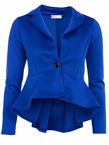 Crazy Girls Blazer pour femme avec manches longues volants, blazer peplum, avec bas du dos déplacé Bleu - Bleu roi