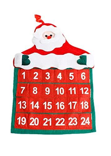 juler 2pcs saisonale Dekor Weihnachtsneuheit Dekoration Weihnachten samt heiße Blume Alter Mann Kalender Weihnachtskalender,rot,Einheitsgröße