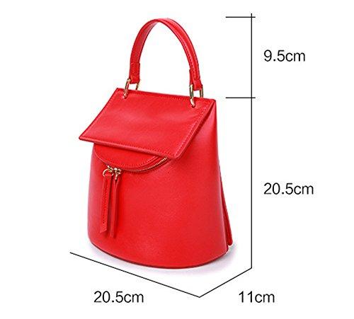 Xinmaoyuan Borse donna vera pelle borsetta Mini borsa Borsetta in pelle retrò benne,viola Rosso