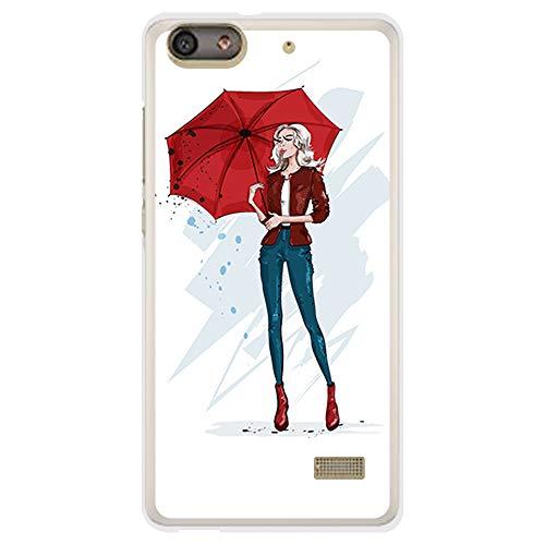 BJJ SHOP Transparent Hülle für [ Huawei G Play Mini ], Klar Flexible Silikonhülle, Design: Stilvolles Mädchen und roter Regenschirm der Mode