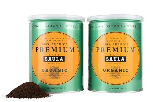 Gemahlener Bio-Premiumkaffee aus Spanien - 100% Arabica Espresso Mischung vom mehrfach ausgezeichneten Café Saula 500g (2x 250g